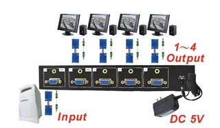 VGA Distributor w/Stereo Audio (4-Way) High Quality Taiwan - VGA Splitter - Video Splitter