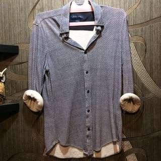 ZARA Shirt long sleeve in light tosca