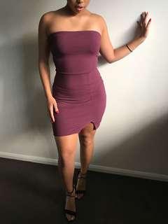 BRAND NEW - Plum slit mini dress
