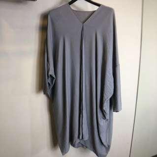 灰色長袖不對稱文青懶人大碼長版洋裝上衣度假孕婦媽媽