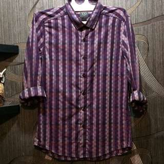 YEGE Shirt checked slim fit in black purple