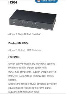 HDMI Switcher (4 Input 1 Output) - 7 Input 1 Output HDMI Switch (Made in Taiwan) HS04 or HS07