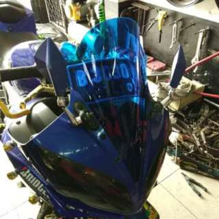 R15 blue visor windshield