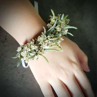 Wedding wrist corsages and floral crowns