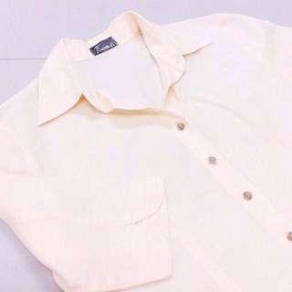 Ladies Button Down Shirt In Peach.