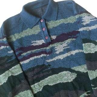 🚚 顛復古⚡️復古百搭藍色迷彩古著polo毛衣❤️男女皆可