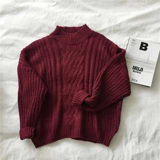 MAROON KNITTED SWEATER PULLOVER