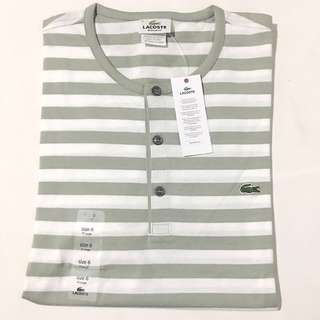 LACOSTE Men's Short Sleeve Striped Henley Tee Shirt