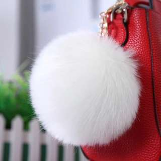 White fuzzy fluffy ball bag hanger key chain #fesyen50