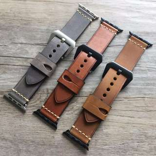 Iwatch Strap  (PANERAI STYLE HIGH QUALITY HANDMADE RETRO LEATHER STRAP)