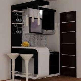Kitchen set mini bar hitam putih