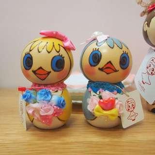 日本手作人cokets木娃娃公仔小鳥一對kokeshi