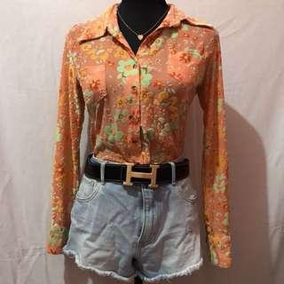 Summer long sleeve orange top