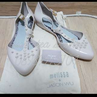 Melissa Doris+Jason WU Flat Studded Cream Shoes sz 39