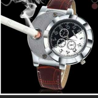 Usb rechargeable lighter smokers watch