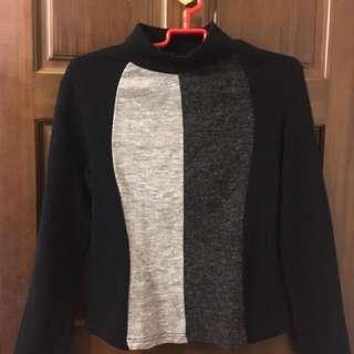 黑灰條紋內搭高領毛衣 #換季五折