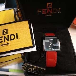 FENDI 紅色漆皮手錶 100%真品 85%New