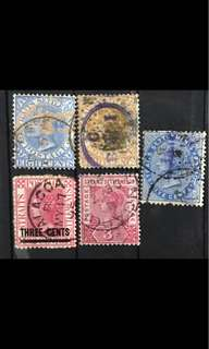Straits settlement stamps Queen Victoria 5v