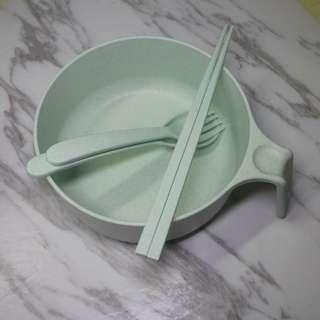 懶人碗 懶人火鍋 湯碗 筷子 匙 叉 膠碗 膠杯 食物器皿 嬰兒 小童 餵食 IKEA 飯碗 二合一 懶人必備 禮物 百佳 惠康 便當 食物盒 杯面