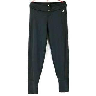 【adidas 愛迪達】黑色低腰超彈力運動褲