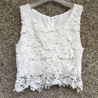 White Lace Semi-Cropped Top