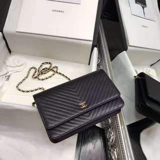 Chanel Chevron Wallet on Chain,Black Caviar with gold/silver chain. SG Ready Stock.Full packaging.