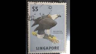 Singapore 1962 eagle $5 stamp Used