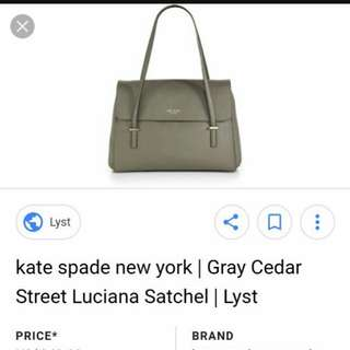 Authentic Kate Spade Gray Cedar Street Lucina bag