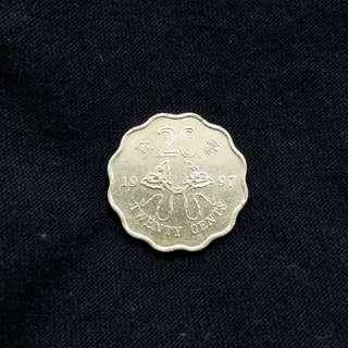 Rare Hong Kong 1997 Reunification coin (20¢)