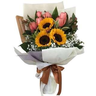 Summer Breeze (Sunflower & Roses Floral Bouquet)