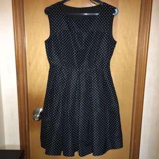Zara dotted dress one piece black & white 黑白波點連身裙