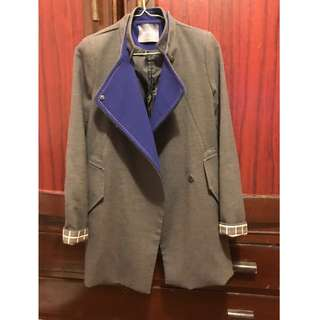 正韓 西裝式灰色 藍領大衣 #換季五折