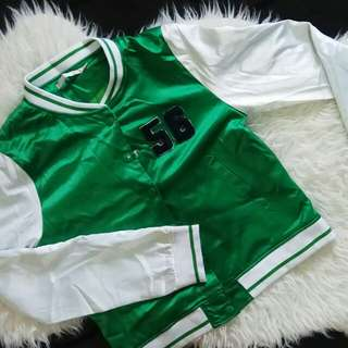 Green and White Varsity Jacket