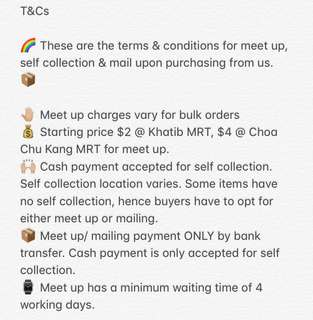 T & Cs / Terms & Conditions For The Buyers Of The Thrift Shop