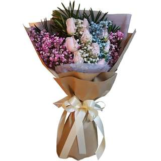Marvels (9 Champagne Roses Floral Bouquet)