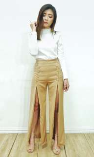 Cream button pants with front slit