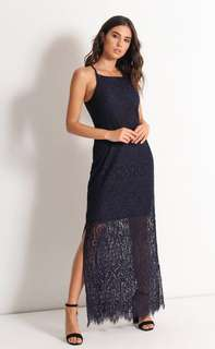 New maxi navy blue lace dress 全新深藍蕾絲連身裙