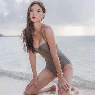 韓國流行 顯瘦 連身泳衣 比基尼 豆沙灰色M