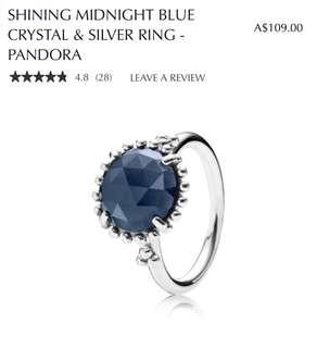 Pandora Midnight blue crystal & silver ring