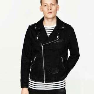ZARA Men Denim Biker Jacket (Black)