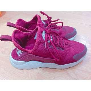 (70%new) 女裝Nike AIR HUARACHE 酒紅色