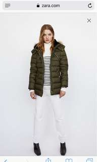Zara Olive/Army green Parka - Small