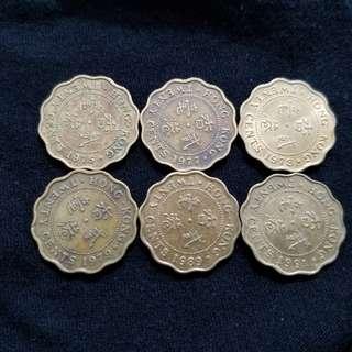 British colonial Hong Kong coins - 20¢ (set of 6)