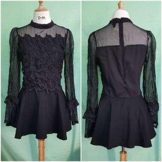 Long sleeve black mini lace dress