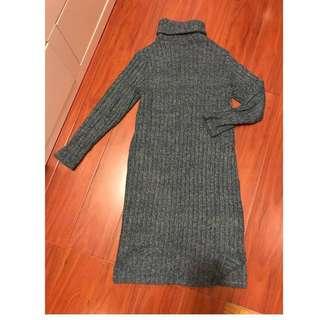正韓 墨綠 保暖高領 毛衣 長洋裝 長裙 可自行加皮帶腰帶 #換季五折