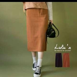 Lulus下擺開叉針織長裙  賣黑色!