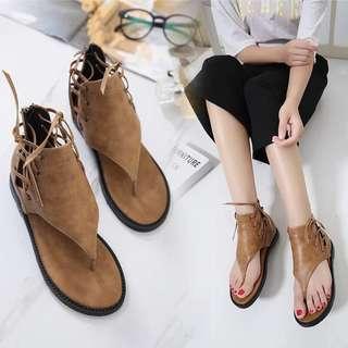 Korean summer herringbone Rome women's high-heeled sandals toe flat casual shoes