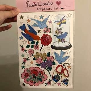 🚚 玫瑰鳥🌹紋身貼紙
