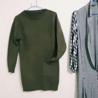 全新橄欖綠墨綠針織厚實單口袋男友風個性休閒韓妞韓風連衣裙長版上衣