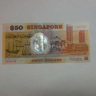 Singapore $50 1990 Polymer Note J Prefix replacement Note Ef Condition